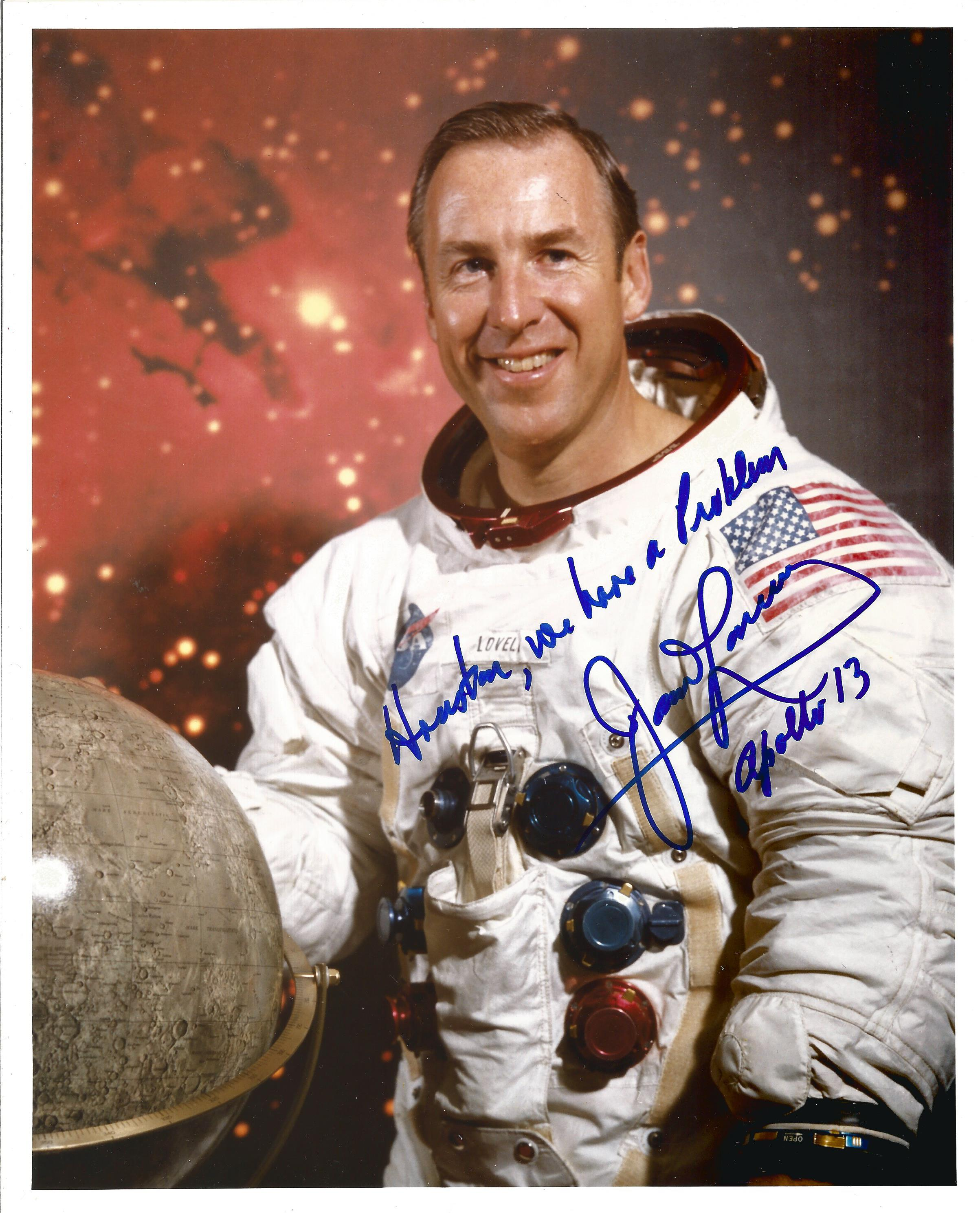 Apollo 13 Astronaut James Lovell signed rare 10 x 8 inch colour White space suit photo with scarce