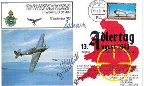 WW2 Luftwaffe aces signed Adler Tag Cover Oberst Johannes Schalk KC, Georg Christl KC. Oberst