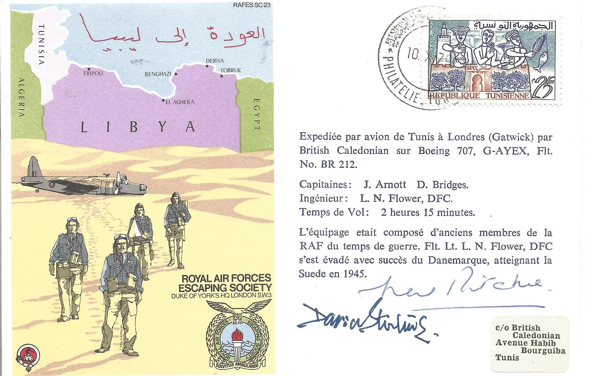 Lt Col A. D Stirling and Gen Sir Neil Mathew Ritchie signed Royal Air Force Escaping Society Libya