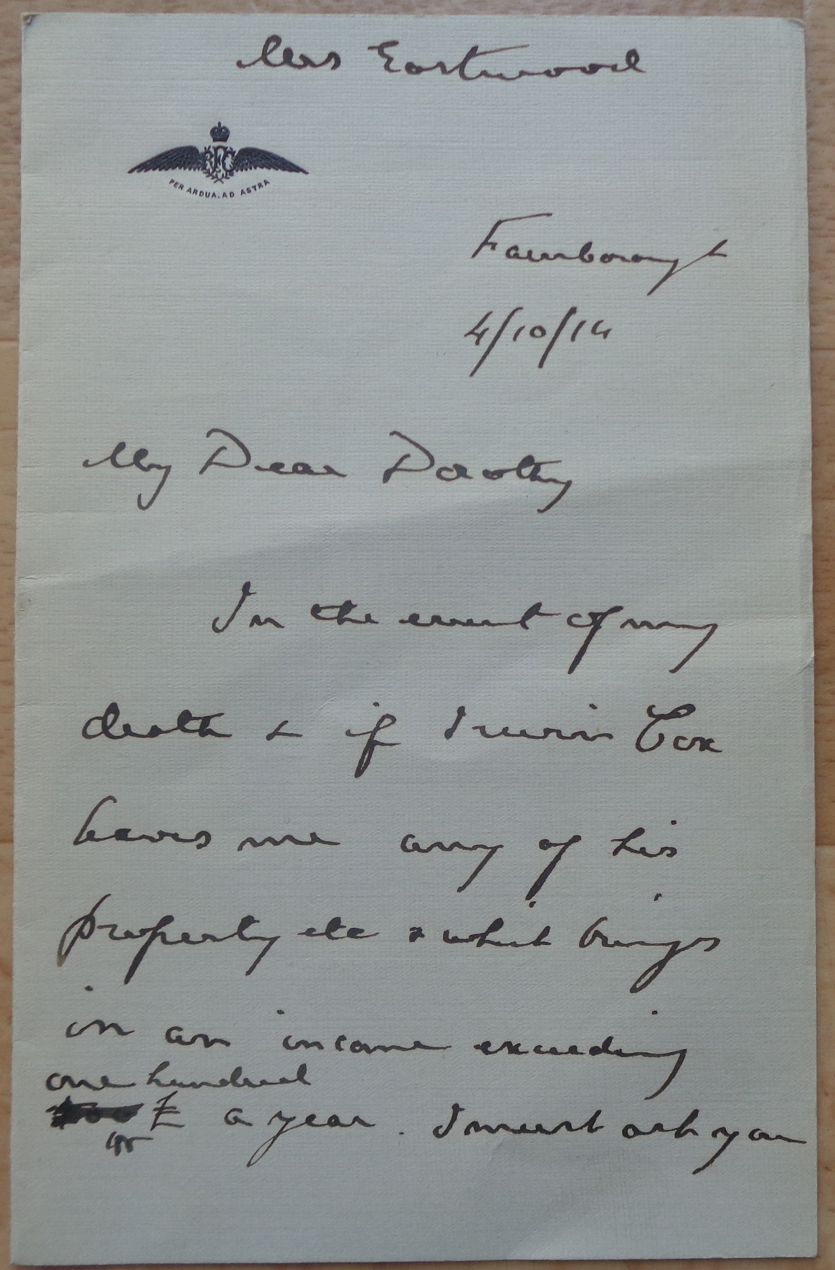Marshal of the Royal Air Force Hugh Montague Trenchard, 1st Viscount Trenchard signed Last Will - Image 3 of 4
