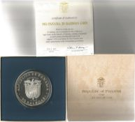 Republic of Panama 20 Balboas Silver Coin, in a Presentation Box with Certificate of Authenticity