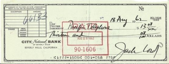 James Bond Jack Lord signed City National Bank of Beverley Hills cheque dated 18th Aug 1962. John Jo