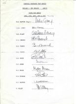 Cricket 1986 England multi signed Team Sheet for The Cornhill Insurance Test Series England v New Ze