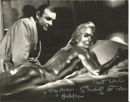 Shirley Eaton signed James Bond 10 x 8 inch b/w photo from Goldfinger.