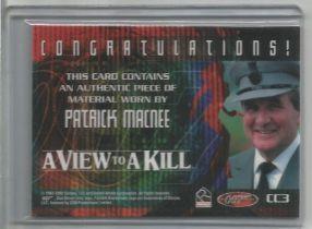 James Bond Patrick Macnee worn piece of costume trading card