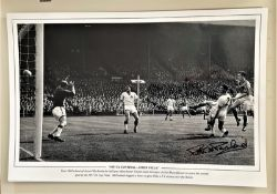 Football, Peter McParland signed 12x18 black and white photo.