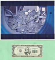 James Bond 100 dollar note prop used in the 007 film License to kill. Obtained directly from a Pinew