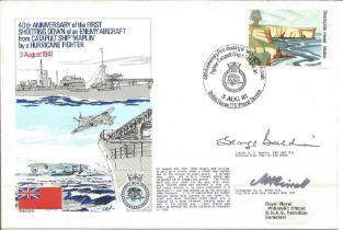 Rare Battle of Britain pilot Cdre M Birrell and Captain G.C. Baldwin signed Navy cover to commemorat