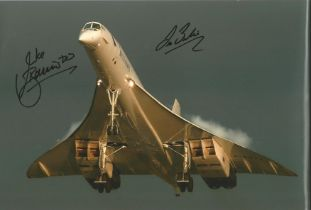 Concorde Captains Mike Bannister and Les Brodie signed 12 x 8 inch colour photo