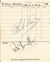 Robert Taylor signed 1949 lined vintage Diary Page approx 6 x 4 inches.