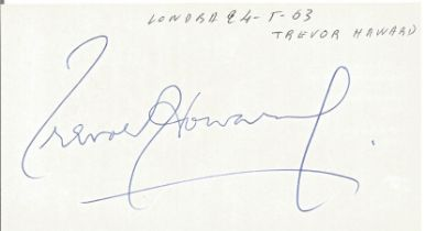 Trevor Howard signed to clear back of Tiberio Restaurant 4 x 3 inch contact card. From collection of