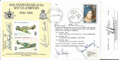 Top 5 Battle of Britain fighter aces signed 40th ann cover. Signed by Douglas Bader, Johnnie Johnson