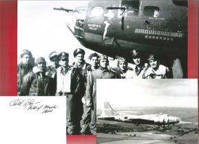 "WW2 B17 ""Memphis Belle"" photo and signature of a Bomber Pilot Captain Robert Morgan 324th Bomb Squad"