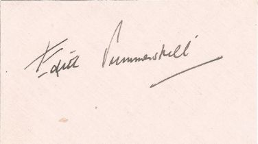 Edith Summerskill signature card. British physician, feminist, Labour politician and writer. She was