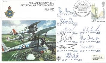 Red Arrows Display team signed 1980 RAF Pageant cover flown by Red Arrows in fly past over London. S