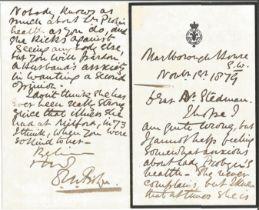 Sir Dighton MacNaghten Probyn VC handwritten letter 1879. (1833 1924), the first recipient of the Vi