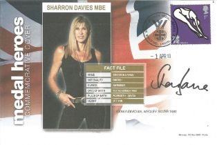 Olympian Sharron Davies signed 2010 Medal Heroes cover. Silver medal swimmer 1980.