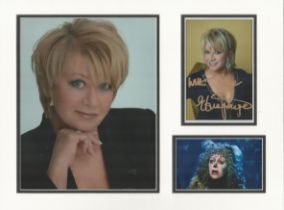 Elaine Paige signature autograph presentation. Mounted with one signed photo and two unsigned photos