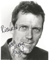 Hugh Laurie actor signed black and white photo 10 x 8 inch dedicated. James Hugh Calum Laurie CBE is