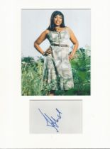 Jennifer Hudson music, signature piece in autograph presentation. Mounted with photograph to approx.
