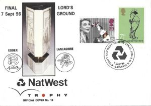 Cricket Nat West Final Essex v Lancashire Lord's 1996 unsigned FDC.