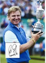 Golf Ernie Els 12x10 matted signature piece includes colour image holding the Open Championship Clar