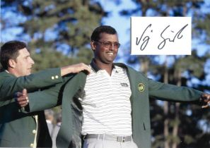 Golf Vijay Singh 12x10 matted signature piece pictured received US Masters Green Jacket.