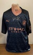 Football Ruben Dias signed Manchester City replica away shirt.