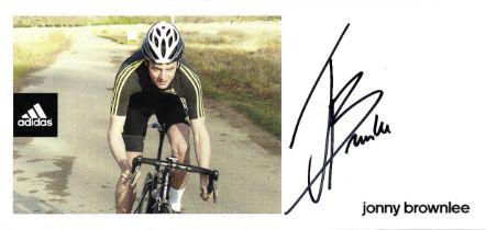 Olympics Jonny Brownlee signed 8x4 Adidas colour promo card.