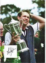 Golf Lee Janzen 12x10 matted signature piece includes colour image holding the US Open trophy.