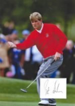 Golf Peter Baker 12x10 matted signature piece includes colour image playing in the Ryder Cup.