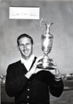 Golf Bob Charles 12x10 matted signature piece includes black and white image holding the Open Champi