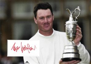 Golf Todd Hamilton 12x10 matted signature piece includes image holding the Open Championship claret