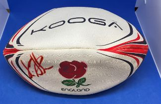 Rugby Union Martin Johnson signed England Kooga full size Rugby Ball.
