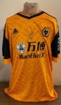 Football Raúl Jiménez signed Wolverhampton Wanderers replica home shirt.