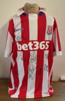 Football Stoke City multi signed replica home shirt 2019-2020 season includes 9 squad signatures.