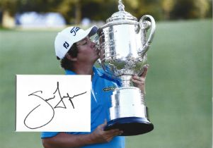 Golf Jason Dufner 12x10 matted signature piece includes image holding the US Open trophy.