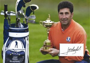 Golf Jose Maria Olazabal 12x10 matted signature piece pictured holding the Ryder Cup.