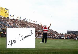 Golf Mark Calcavecchia 12x10 matted signature piece pictured after winning the 1989 Open Championshi