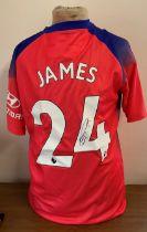 Football Reece James signed Chelsea replica away shirt.