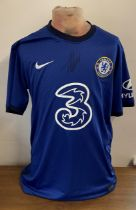 Football Timo Werner signed Chelsea replica home shirt.