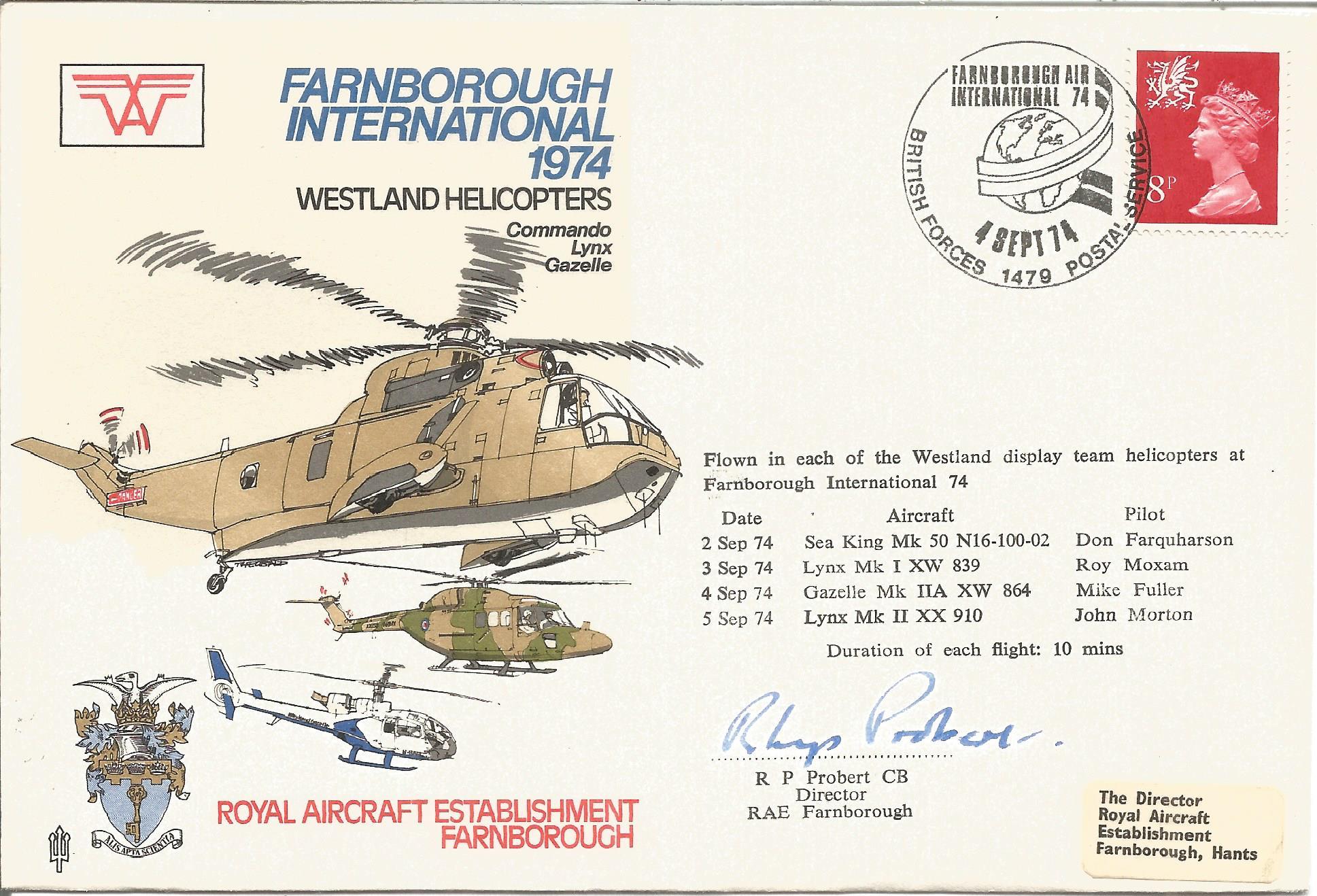 R.P. Probert CB with Sqn Ldr C.C. Le Cornu on reverse signed Farnborough International 1974 Westland