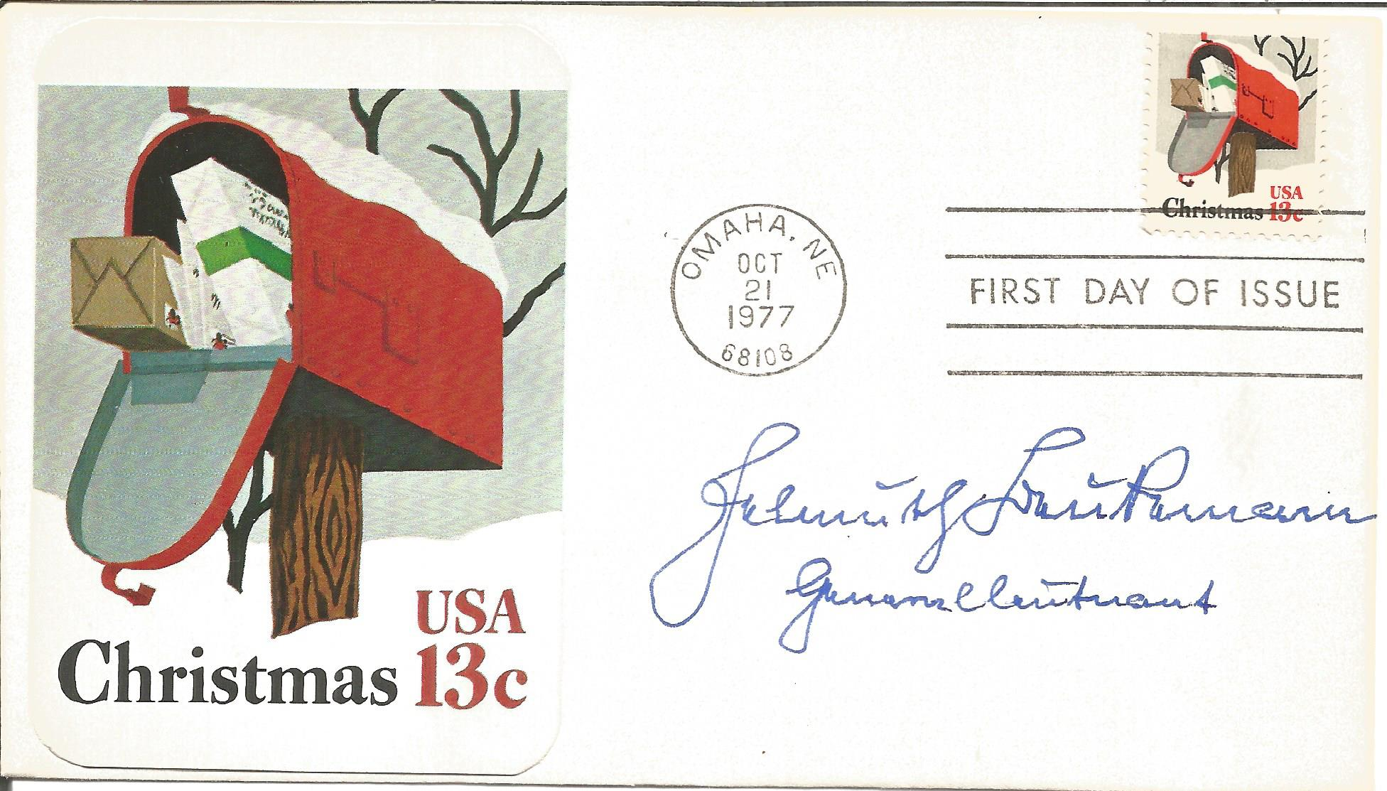 Helmuth Beubermann signed Christmas USA 13c FDC postmark Omaha N.E. 21 Oct 1977. Good condition. All