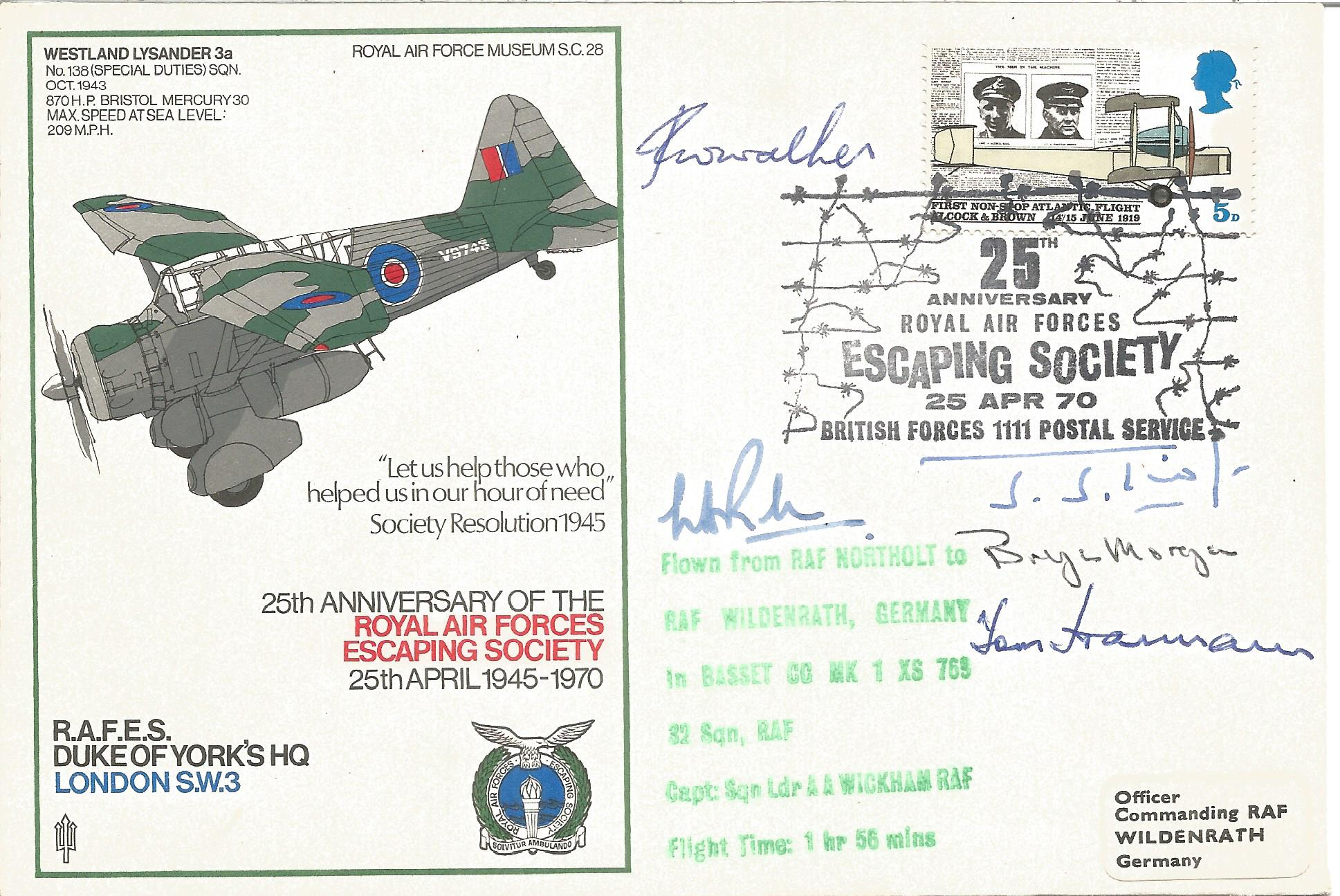 Grp Capt Bill Randle, B. Morgan with three others signed 25th Anniversary of the Royal Air Forces