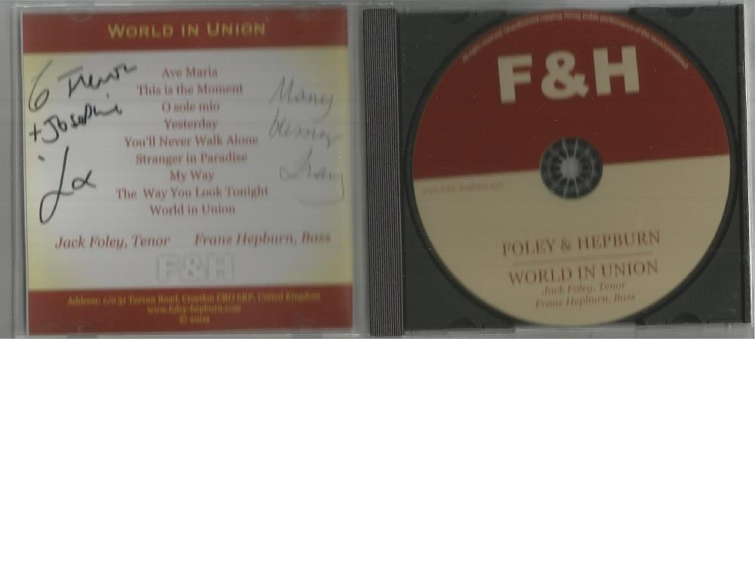 6 Signed CDs Including Andrea Ross Moon River Disc Included, Foley and Hepburn Con Te Partiro Disc - Image 4 of 6