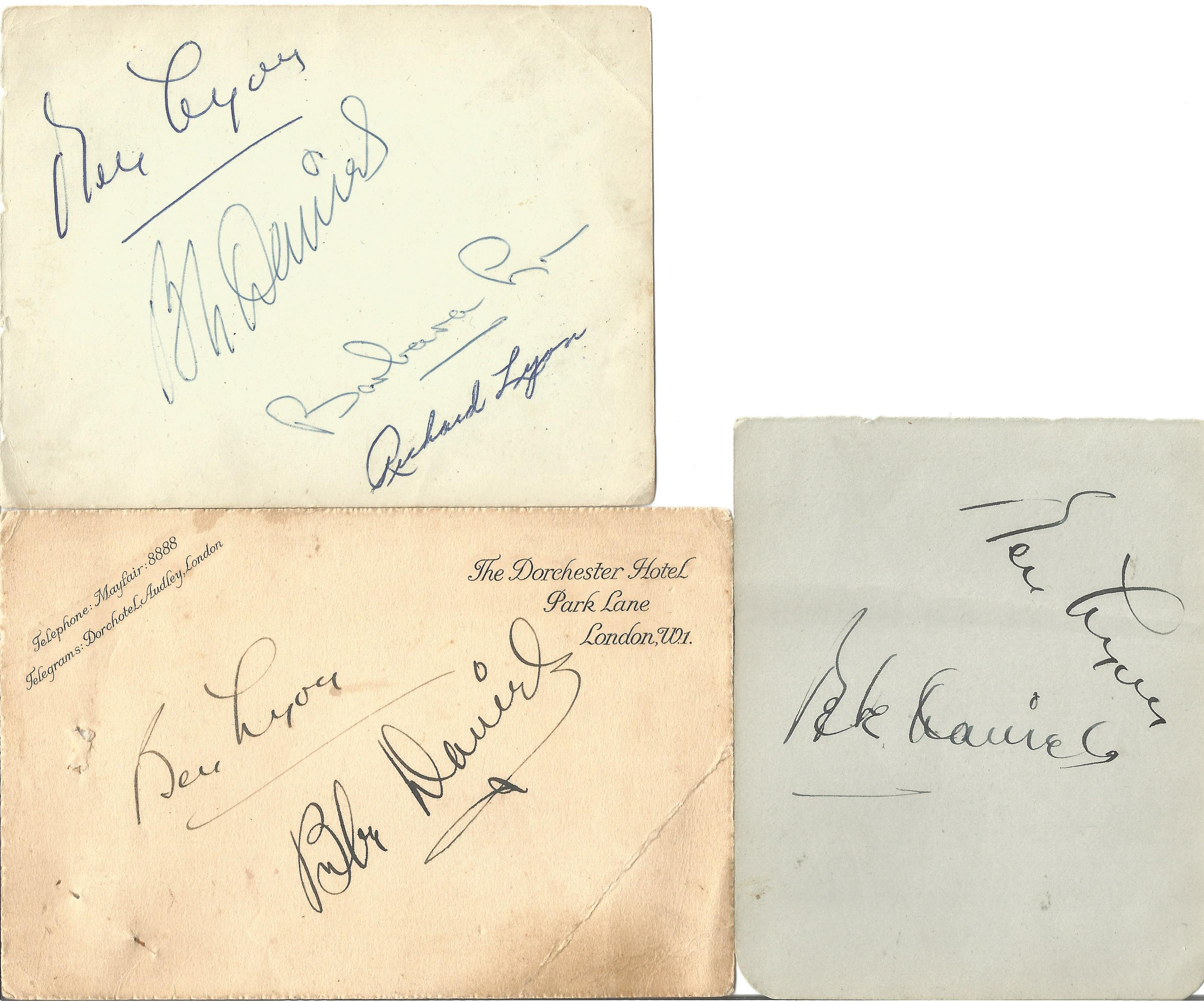 Ben Lyon and fam signed collection. Good condition. All autographs come with a Certificate of