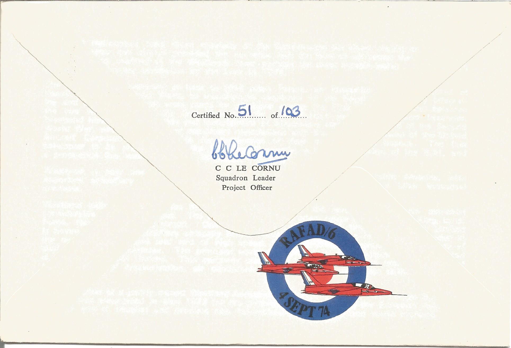 R.P. Probert CB with Sqn Ldr C.C. Le Cornu on reverse signed Farnborough International 1974 Westland - Image 2 of 2
