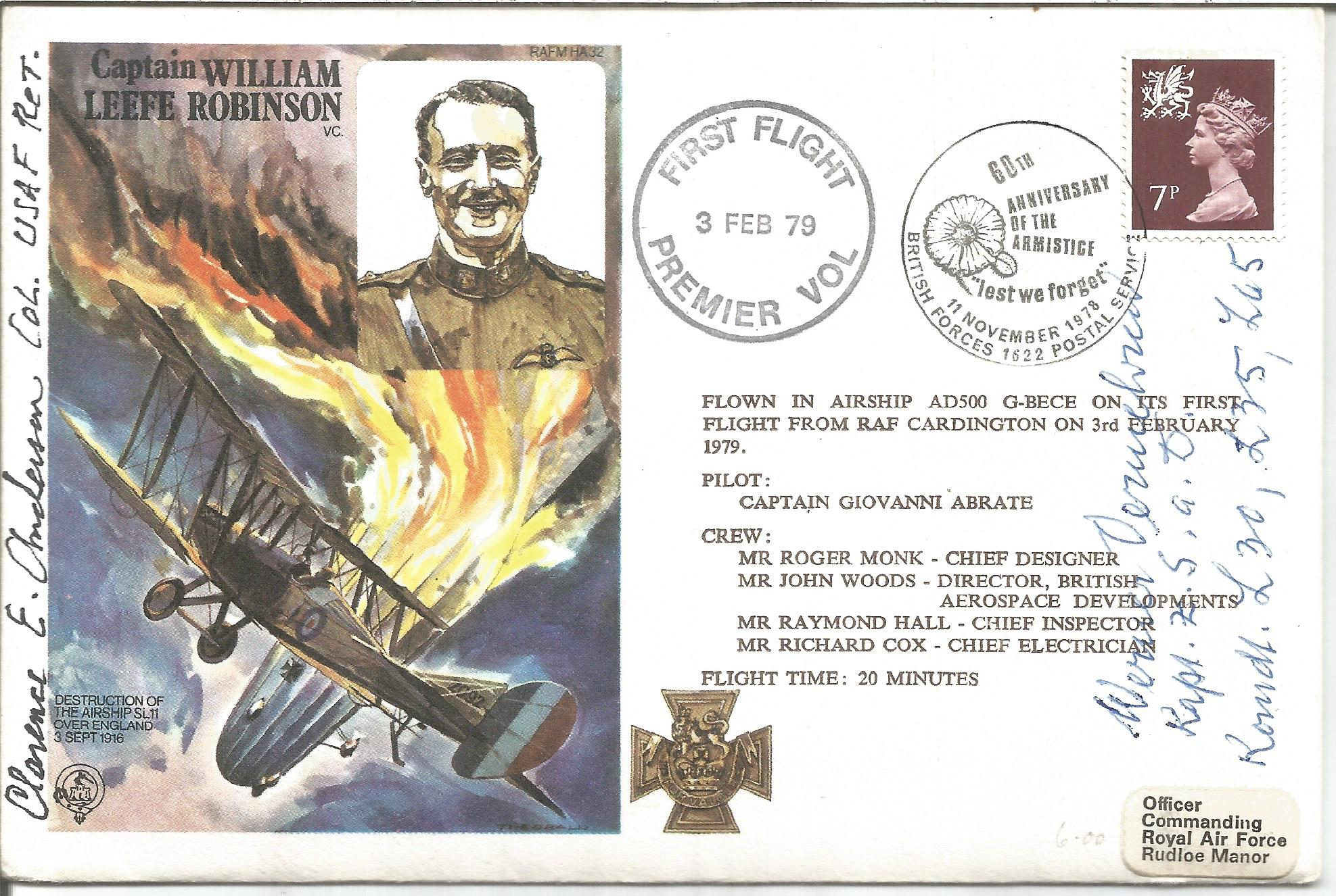 Col. Clarence E. Anderson and Cpt. Werner Vermehren signed Captain William Leefe Robinson VC FDC No.