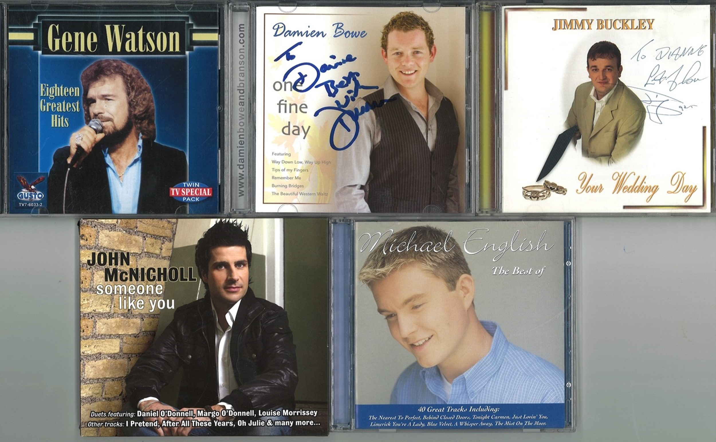Collection of Five Signed CDs, Damien Bowe, John McNicholl, Jimmy Buckley, Gene Watson, Michael