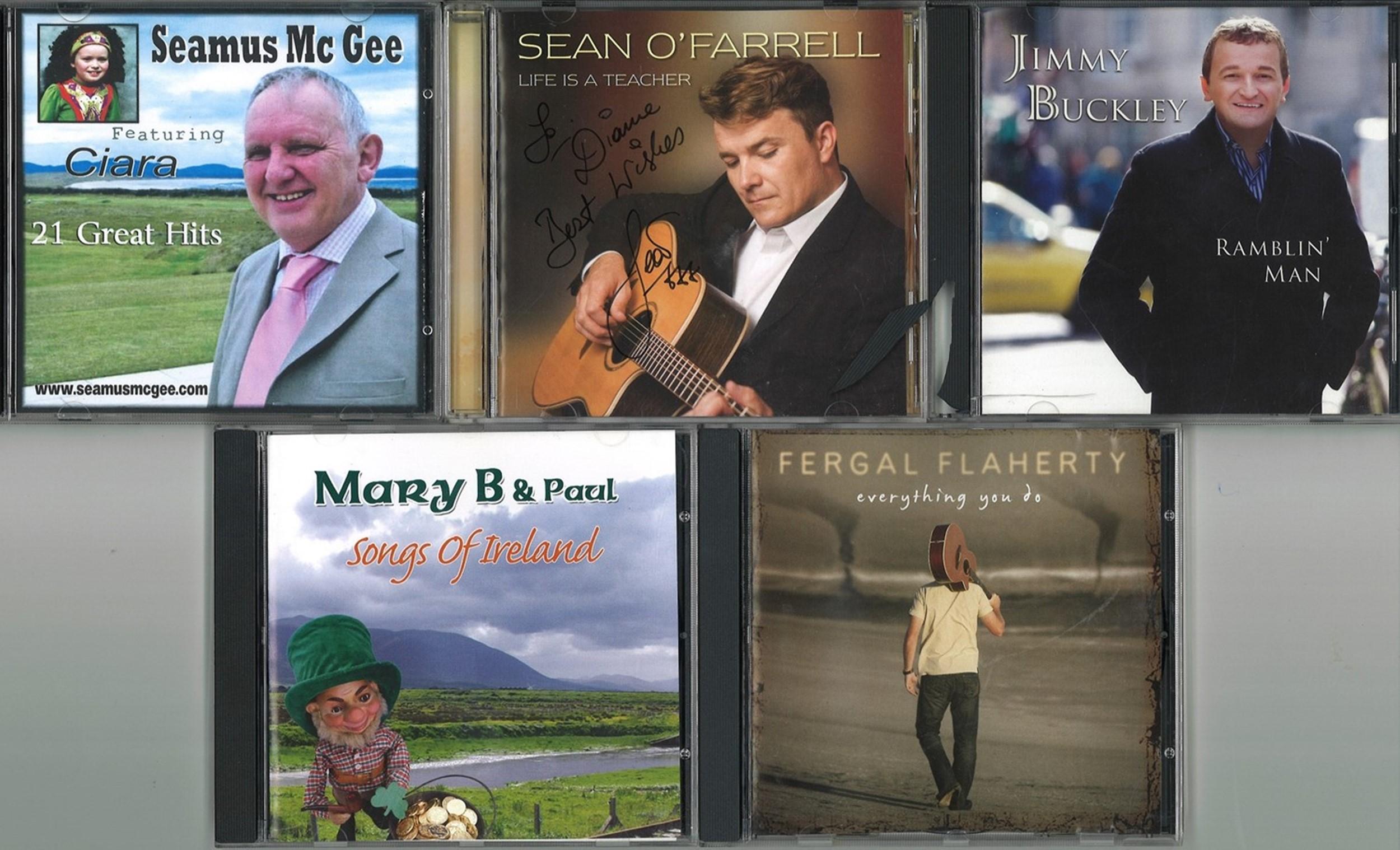5 Signed CDs, Jimmy Buckley, Sean O'Farrell, Seamus McGee, Fergal Flaherty, Mary B and Paul. Good